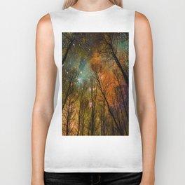 Black Trees Burnt Orange Teal Space Biker Tank