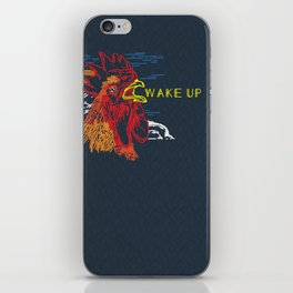 Wake Up Monoline Rooster Graphic iPhone Skin