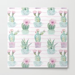 Cute Potted Cacti Stripe Pattern Metal Print