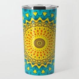 Birds of Paradise Geometric Circle Pattern \\ Tropical Beach House Vibes \\ Green Yellow Blue Colors Travel Mug
