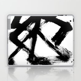 Brushstroke 5 - a simple black and white ink design Laptop & iPad Skin