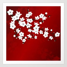 Red Black And White Cherry Blossoms Art Print