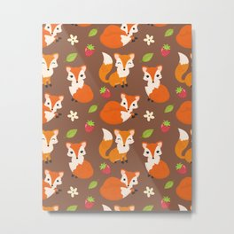Cute Sitting Fox Illustration with Strawberries and Flowers Metal Print