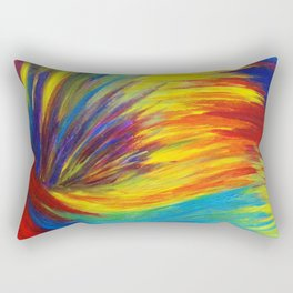 RAINBOW EXPLOSION - Vibrant Smile Happy Colorful Red Bright Blue Sunshine Yellow Abstract Painting  Rectangular Pillow