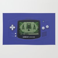 gameboy Area & Throw Rugs featuring Classic Gameboy Zelda Link by Electra
