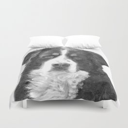 Black and White Bernese Mountain Dog Duvet Cover