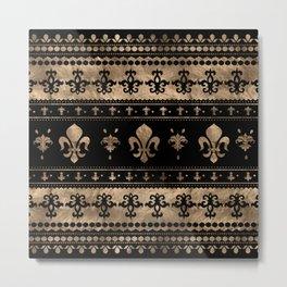 Luxury black and gold Fleur-de-lis ornament  Metal Print