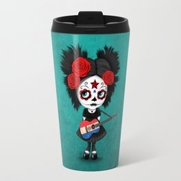 Day of the Dead Girl Playing Paraguay Flag Guitar Travel Mug