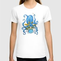 drums T-shirts featuring Octopus on Drums by Bili Kribbs