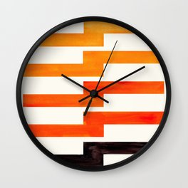 Orange & Black Geometric Minimal Mid Century Modern Lightning Bolt Pattern Watercolor Art Wall Clock