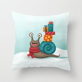 Holiday Snail Throw Pillow