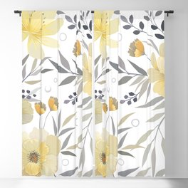Modern, Floral Prints, Yellow, Gray and White Blackout Curtain