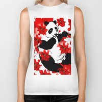 red panda Biker Tanks featuring Panda by Saundra Myles