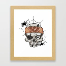 Skeleton Bandana Skull Scarf and Spiders Halloween Light Framed Art Print