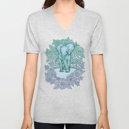 Emerald Elephant in the Lilac Evening Unisex V-Neck