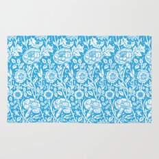 "William Morris Floral Pattern | ""Pink and Rose"" in Turquoise Blue and White Rug"