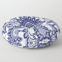 damask blue and white Floor Pillow