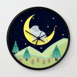 Elephant on the moon , nursery decor , Wall Clock