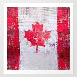 Canadian Flag Painting Tote Bag Abstract Maple Leaf Canada Art Print