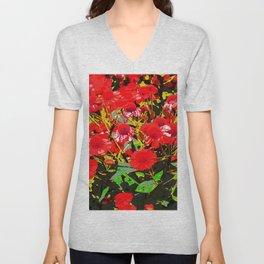 Red flowers garden Unisex V-Neck