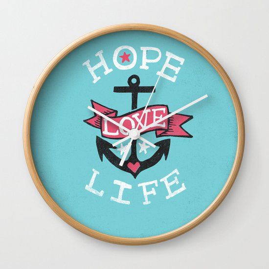 HOPE LOVE LIFE - ANCHOR Wall Clock