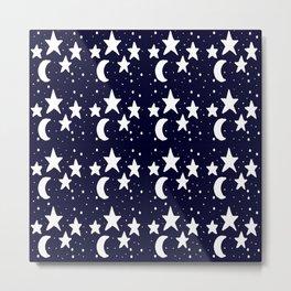 Starry Night Cartoon Print Pattern Metal Print