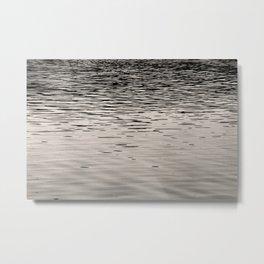 Black and White Landscape Photography, Sunset Reflections on the Great Salt Lake Utah, Minimalist Home Decor, Black & White Wall Art Metal Print