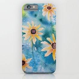 """""""Summertime"""" Loose yellow coneflowers watercolor paintng iPhone Case"""