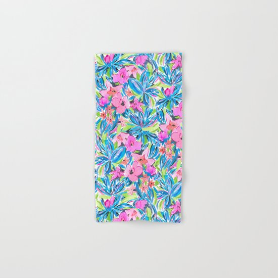 Flaunting Floral Aqua Hand & Bath Towel