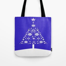 Christmas Tree Made Of Snowflakes On Purple Background  Tote Bag