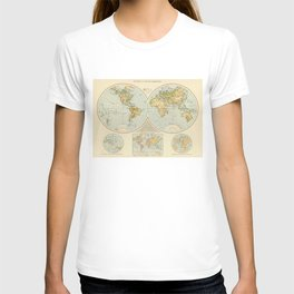 Vintage Map of The World (1895) T-shirt