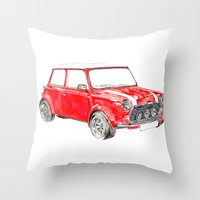 mini cooper Throw Pillows featuring Red Mini Cooper by Meg Ashford