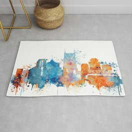 Nashville Watercolor Skyline Rug