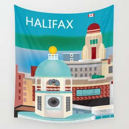 Halifax, Nova Scotia, Canada - Skyline Illustration by Loose Petals Wall Tapestry