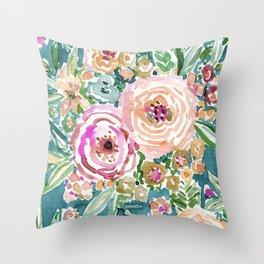 Teal MAUI MINDSET Colorful Tropical Floral Throw Pillow