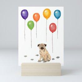 Pug with balloons Mini Art Print
