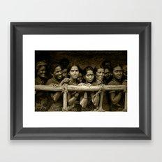 Hindu Pilgrims on New Year's Day Framed Art Print