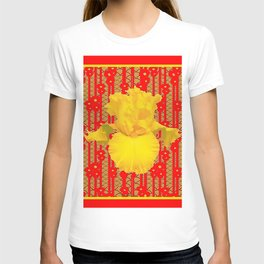 Red & Yellow Art Deco Style Iris Pattern T-shirt
