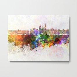 Santiago de Compostela skyline in watercolor background Metal Print