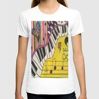 piano T-shirts featuring Piano by Sydsart1259
