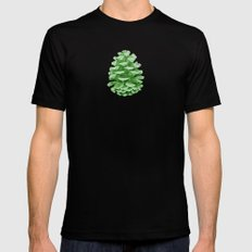 Minty Green Pine Cones MEDIUM Black Mens Fitted Tee