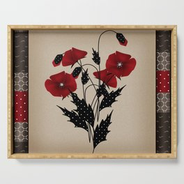 Flowers Art Poppies. Patchwork Serving Tray