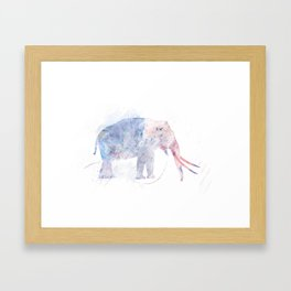 Digital Painting of  walking Elephant Framed Art Print