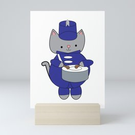 Marching Band Drum Drummer Kitty Cat Mini Art Print