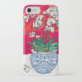 Orchid in Chinoiserie Bird Pot on Pink, Coral and Red Background Floral Still Life Painting Matisse iPhone Case