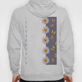 WHITE DAISIES & SPRING BUTTERFLIES & WHITE-GREY ART Hoody