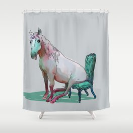 animals in chairs #22 The Unicorn Shower Curtain