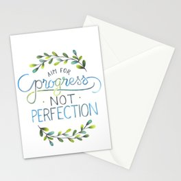 Aim for progress not perfection Stationery Cards