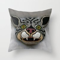 mask Throw Pillows featuring Mask by Abundance