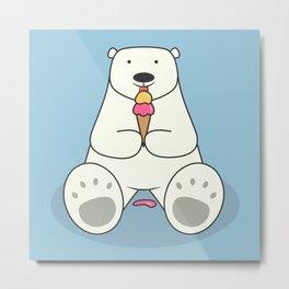 Ice Cream Lover Bear Metal Print